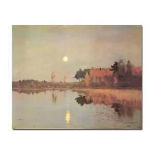Hand-painted Oil Painting Landscape with moon by Isaak Levitan without Frame