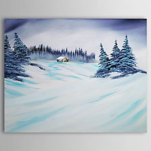 Hand-painted Oil Painting Christmas Snowy Landscape 1210-LS0003
