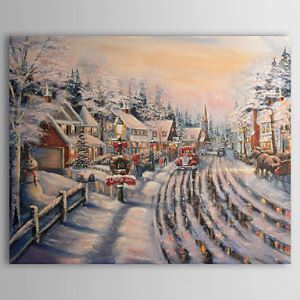 Hand-painted Oil Painting Christmas Snowy Landscape 1210-LS0005