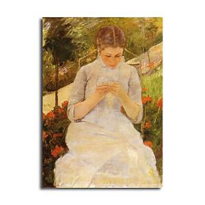 Hand-painted Oil Painting Young Woman Sewing in a Garden  by Mary Stevenson Cassatt without Frame