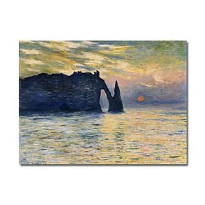 Hand-painted Oil Painting Etretat,Sunset by Claude Monet without Frame