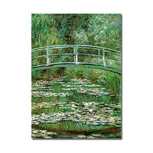 Hand-painted Oil Painting WaterLilies and Japanese Bridge by Claude Monet without Frame