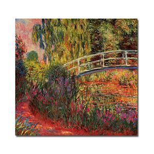 Hand-painted Oil Painting The Japanese Bridge by Claude Monet with Stretched Frame