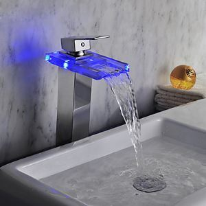 Chrome Finish LED Waterfall Glass Bathroom Sink Faucet Tall