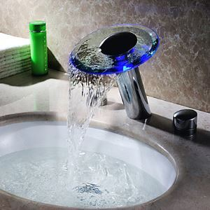 Hydroelectric Power Two Handles LED Waterfall Glass Bathroom Sink Faucet Chrome Finish(Tall)