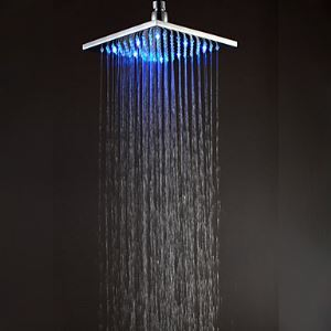 20x21cm LED Square Chrome Brass Showerhead