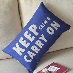 Keep Calm Cotton/Linen Decorative Pillow Cover 057