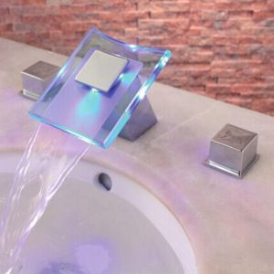 LED Two Handles Chrome Finish Hydroelectric Waterfall Sink Faucet