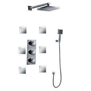 Wall Mount Thermostatic Shower Faucet with BodySprays (Chrome Finish)