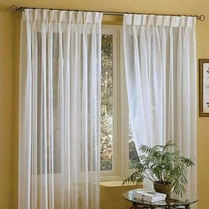 (One Panel) Linen White Solid Sheer Curtains