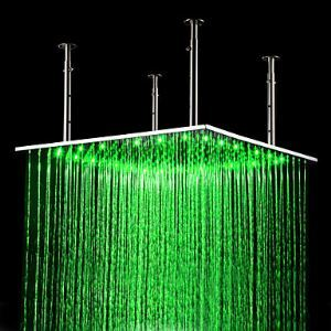 24 inch Stainless Steel Shower Head with Color Changing LED Light