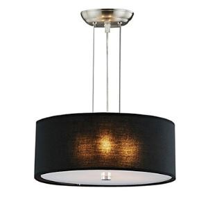 Modern 3 - Light Pendant Lights with Black Shade Cylinder Design Black Chandelier