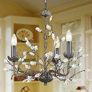Modern Candle Featured Crystal Chandeliers with 3 Lights Arabesque Pattern