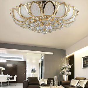 Modern Crystal Flush Mount With 3 Lights Golden Finish