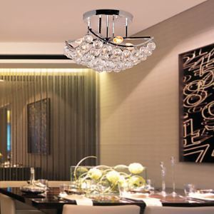 Modern Crystal Semi Flush Mount with 4 Lights