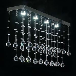 Modern Flush Mount with 4 LED Lights in Crystal Beaded Design Energy Saving