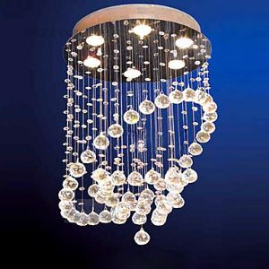 Modern Flush Mount with 6 Lights in Crystal Beaded Design