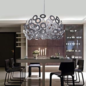 Modern Pendant Light in Circle Featured Lampshade Height Adjustable