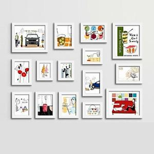 Modern Photo Wall Frame set Collection-Set of 15 PM -15B a