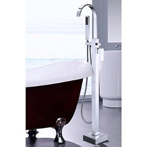 Solid Brass Floor Standing Tub Filler with Hand Shower