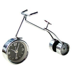 Modern Style Bicycle Alarm Clock with Thermometer 6""
