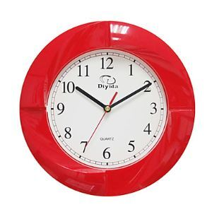 Modern Wall Clock in Red 10""