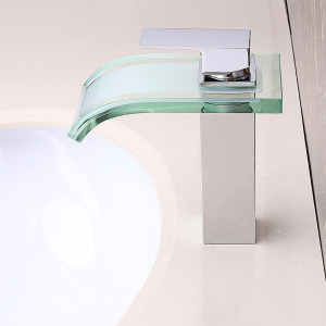 Modern Waterfall Bathroom Sink Faucet with Glass Spout Chrome Brass One Hole  Single Handle