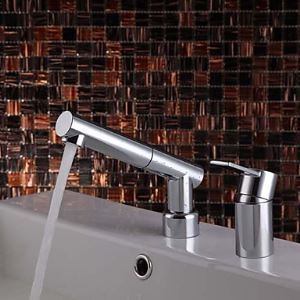 Modern Widespread Pull Out Bathroom Sink Faucet (Chrome Finish)