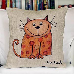 Fat Cat Cotton Decorative Pillow Cases for Christmas Holiday Decor Christmas Pillow Christmas Gifts