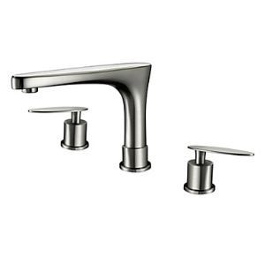 Nickel Brushed Finish Solid Brass Contemporary Widespread Bathroom Sink Faucets