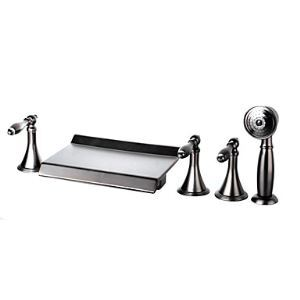 Nickel Brushed Three Handles Widespread Bathroom Sink Faucet(1039-1080)