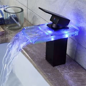 Black Bathroom Sink Faucet Glass ORB Oil Rubbed Bronze Color Changing LED Waterfall Bathroom Basin Tap