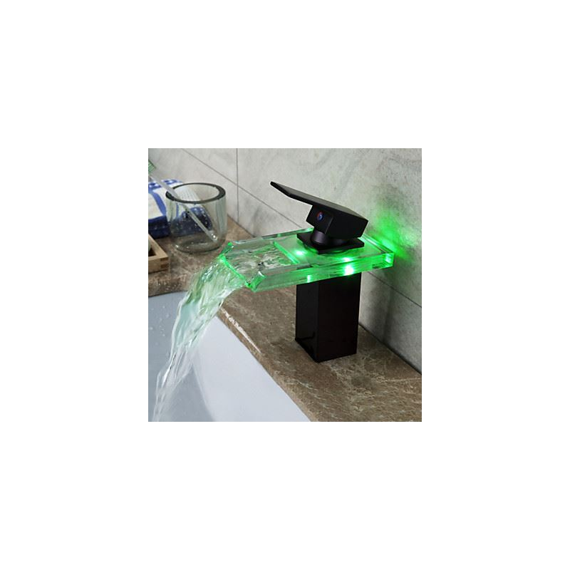 rubbed bronze color changing led waterfall bathroom