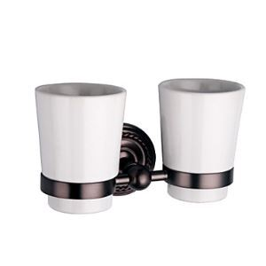 Oil Rubbed Bronze Wall Mount Double Tumbler Holder