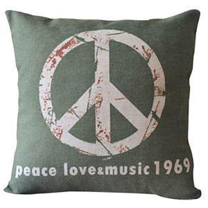Peace Love Cotton/Linen Decorative Pillow Cover 025