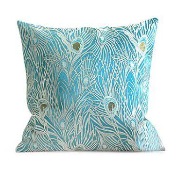 homeclick pillow p com cyan peacock design