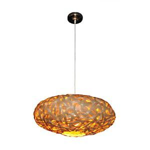 Pendant Light with Warm Golden Shade