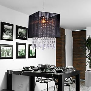 Stylish Pendant Light with Black Fabric Shade Black Chandelier