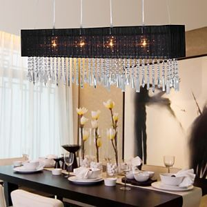 Stylish Pendant Light with 4 lights (Fabric Shade)