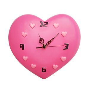 Pink Heart Mute Wall Clock