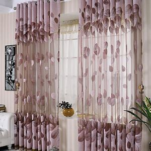 ( One Panel ) Purple Leaf Jacquard Sheer Curtains