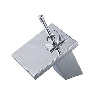 Solid Brass Waterfall Bathroom Sink Faucet - Chrome Finish