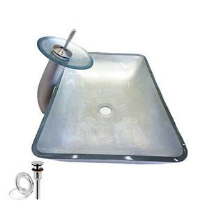 Rectangular Tempered Glass Vessel Sink With Waterfall Faucet ,Pop - Up drain and Mounting Ring