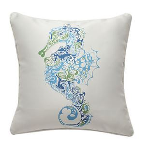 Seahorse Nautical Print Decorative Pillow Cover