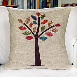Colorful Tree Cotton Decorative Pillow Cover & Case for Christmas Holiday Decor Christmas Pillow Christmas Gifts