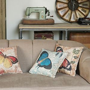 Set of 3 Country Butterfly Cotton/Linen Decorative Pillow Cover