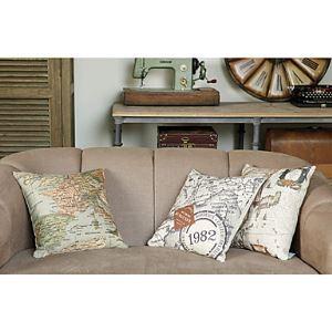 Set of 3 Modern Map Cotton/Linen Decorative Pillow Cover