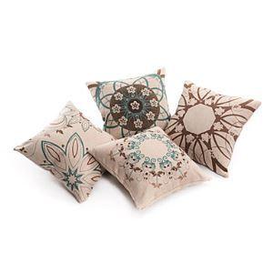 Set of 4 Artistic Floral Decorative Pillow Cases