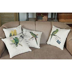 Set of 4 Pastoral Birds Cotton/Linen Decorative Pillow Cases
