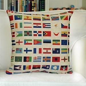 Flags Cotton Decorative Pillow Cover